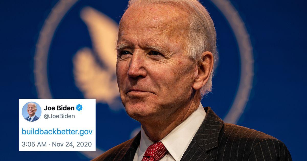 Joe Biden flexiona una nueva y brillante dirección .gov, Twitter la aprueba mucho