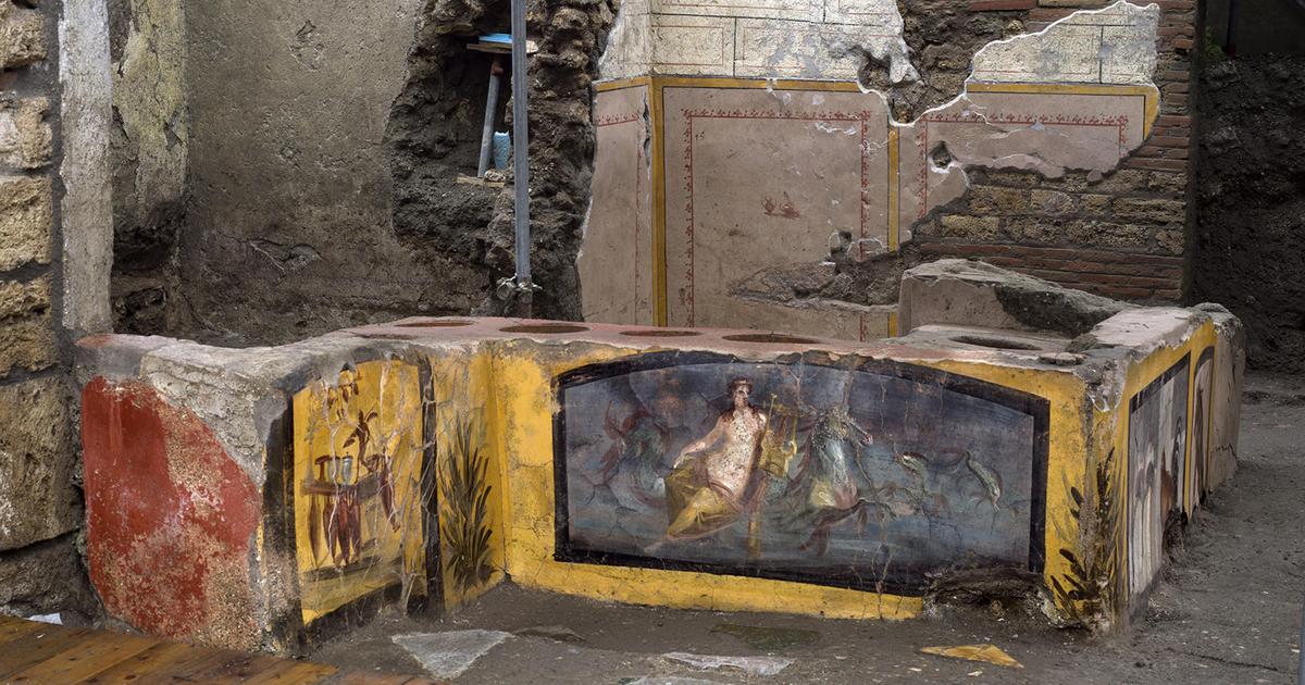Fotos de un antiguo puesto de comida rápida romana bellamente conservado