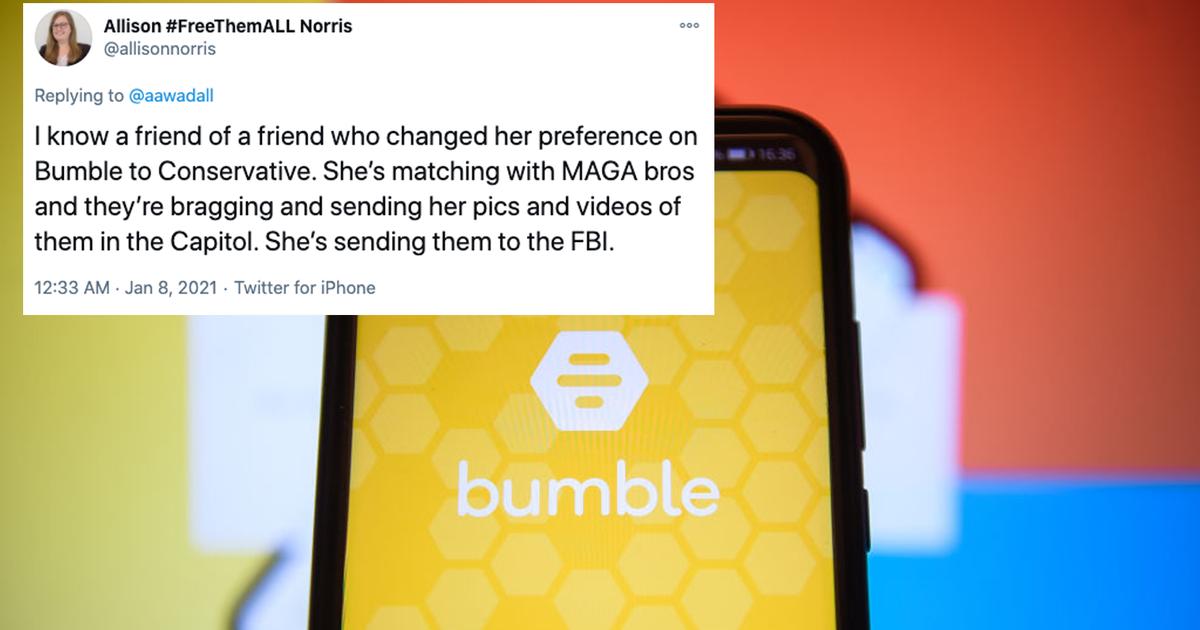 Bumble elimina el filtro político en medio de la búsqueda de alborotadores del Capitolio en la aplicación