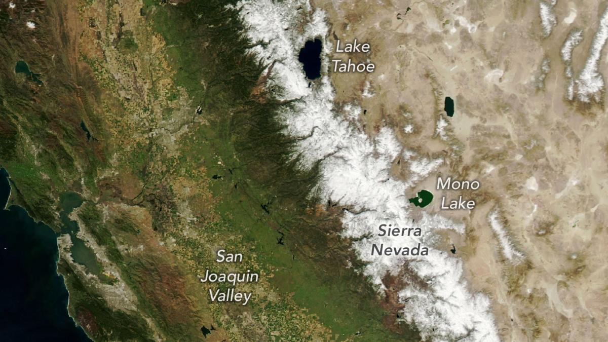 Fotos espaciales muestran un intenso secado de las montañas de California